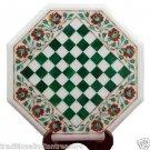 "16"" White Marble Coffee Chess Table Top Hakik Inlay Semi Precious Home Decor"