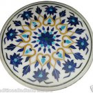 """Size 30""""X30"""" Marble Dining Table Top Rare Lapis Mosaic Floral Home Decor H928A"""
