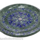 "16"" Green Marble Fruits Bowl Turquoise Mosaic Lapis Lazuli Home Decor Arts Gifts"
