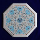 """13"""" Marble Coffee Table Top Marble Turquoise Marquetry Pietra Dura Decor Art"""