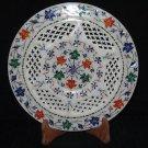 "10"" Decorative Marble Plate Inlaid Floral Design Pietra Dura Mosaic Handmade"