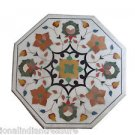 """24"""" White Marble Coffee Table Top Side Pietra Dura Handmade Home Decor Gifts"""
