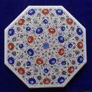 """32"""" Marble Table Top Semi Precious Pietra Dura Peacock Design Floral Home Decor"""