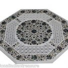 """24"""" White Marble Paua Shell Dining Coffee Table Top Filigree Real Floral Art New"""