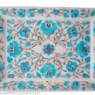 """9""""x12"""" Marble Serving Tray Plate Turquoise Floral Inlay Marquetry Kitichen Gifts"""