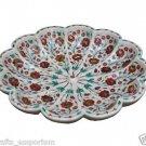 "18"" Decorative Marble Bowl Carnelian Mosaic Inlaid Pietra Dura Home Decor Gifts"