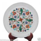 """9""""x 9"""" Marble Serving Tray Plate Peacock Inlay Fine Mosaic Marquetry Table Decor"""
