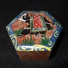 Hexagon Marble Jewelry Box Trinket Elephant Handpainted Decor Shopping Gifts