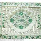 """9""""x12"""" White Marble Tray Pietra Dura Filigree Tiny Hole Handmade Malachite Gifts"""