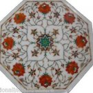"12"" Marble Inlaid Pietra Dura Rare Table Top Hakik Marquetry Handmade Decor Art"