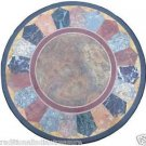 """24"""" Black Round Centre Marble Dining Table Top Maquetry Handmade Decorative Art"""