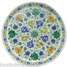 """12"""" Marble Plate Pietra Dura Real Inlay Flower Marquetry Inlaid Mosaic Decor Art"""