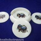 Marble Coaster Set Handmade Elephant Inlaid Peitra Dura Home Decorative Gifts