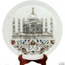 "15"" White Marble Serving Plate Rare Tajmahal Inlay Pietradure Mosaic Decorative"