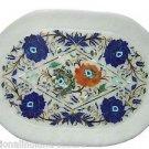 "11""x16"" White Marble Plate Pietra Dura Lapis Lazuli Paua Shell Handmade Gifts"
