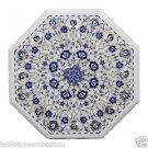"""Size 17""""x17"""" Marble Coffee Table Top Semi Precious Lapis Gem Inlay Marquetry Art"""