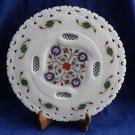 "12"" Marble Plate Malachite Lapis Floral Inlaid Pietra dura Handmade Design Decor"