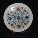 "12"" Decorative Marble Plate Floral Mosaic Paua shell Pietra Dura Handmade"