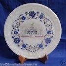 """10"""" Decorative White Marble Plate Lapis Lazuli TAJ MAHAL Pietra Dura Handmade"""