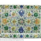 "9""x12"" White Marble Tray Pietra Dura Marble Plate Handmade Hakik Malachite Arts"