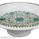 White Marble Dry Fruit Bowl Malachite Floral Inlay Pietradure Kitichen Art Gifts