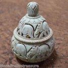 "3""x3""x4"" Marble Jewelry Box Jar Trinket Decor Elephant  Collectible Handmade Art"
