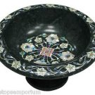Black Marble Dry Fruit Bowl Mother of Pearl Marquetry Floral Kitichen Deco Gifts