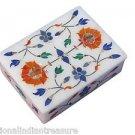 "4""x3""x2"" Marble Jewelry Box Handmade Ring Trinket Pietra Dura Home Decor Gift"