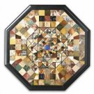 """24"""" Black Marble Marquetry Inlaid Dining Coffee Table Top Home Decor Gifts New"""