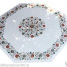 "Size 48""x48"" Marble Dining Coffee Table Top Mosaic Inlay Pietradure Home Decor"
