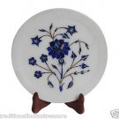 White Marble Serving Dish Plate Real Lapis Rose Floral Mosaic Inlay Decor Gifts