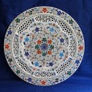 "15"" Decorative White Marble Plate Filigree Pietra Dura Handmade Rare Gifts Art"