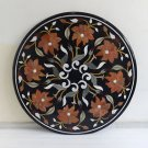 "36"" Mosaic Black Marble Coffee Table Top Dining Inlaid Handmade Marquetry Art"