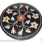 """23"""" Black Marble Round Furniture Coffee Table Top Handmade Buds Arts Home Decor"""