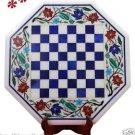 "21"" White Marble Coffee Chess Table Top Handicraft Parrot Decor Lapis Lazuli"
