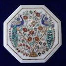 "12"" White Marble Inlaid Two Peacock Pietra Dura Rare Table Top Home Decor Art"