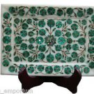 "9""x7"" Marble Tray Pietra Dura Malachite Marquetry Inaid Mosaic Home Decor Gifts"