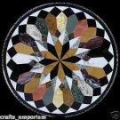"36"" Black Coffee Dining Table Top Fayor Art Marquetry Pietra Dura Inlaid Decor"