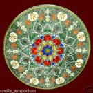"""36"""" Green Marble Coffee Dining Table Top Marquetry Mosaic Home Decor New Gifts"""