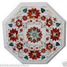 Size 1'x1' Marble Corner Coffee Table Top Rare Carnelian Gems Mosaic Decor
