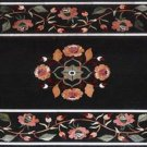 Size 2'x3' Black Marble Center Dining Coffee Table Top Inlay Pietradure Mosaic