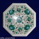 "12"" Marble Inlay Real Malachite coffee Side Table Pietra Dura Home Decor Art"