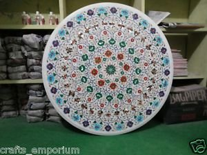 "36"" White Marble Handmade Dining Table Top Coffee Inlay Paua Shell Mosaic Decor"