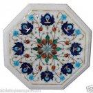 Size 1'x1' Marble Center Coffee Table Top Rare Lapis Gemstone Mosaic Decor