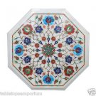 Size 1'x1' White Marble Coffee Table Top Inlay Mosaic Turquoise Christmas Gifts
