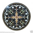 """Size 36""""x36"""" Black Marble Coffee Table Top Marquetry Handmade Mosaic Home Arts"""