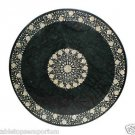 """Size 48""""x48"""" Round Dining Table Green Marble inlaid Mother of Pearl Pietra Dura"""