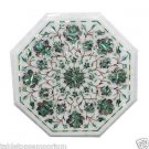 1'x1' White Marble Coffee Table Top Inlay Mosaic Marquetry