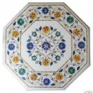Size 1'x1' White Marble Center Side Coffee Table Top Inlay Mosaic Marquetry Art