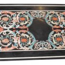 Size 2'x5' Black Marble Dining Center Table Top Rare Inlay Mosaic Marquetry Deco